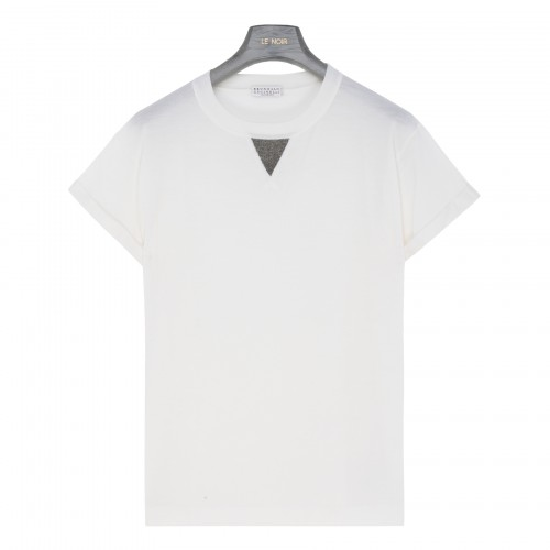 White cashmere and wool blend T-shirt