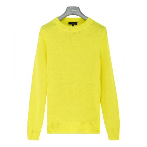 Neon yellow linen-blend sweater
