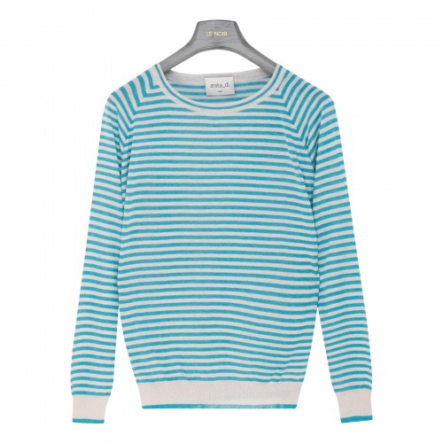 Turquoise and beige striped top