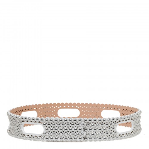 Ice leather belt with studs