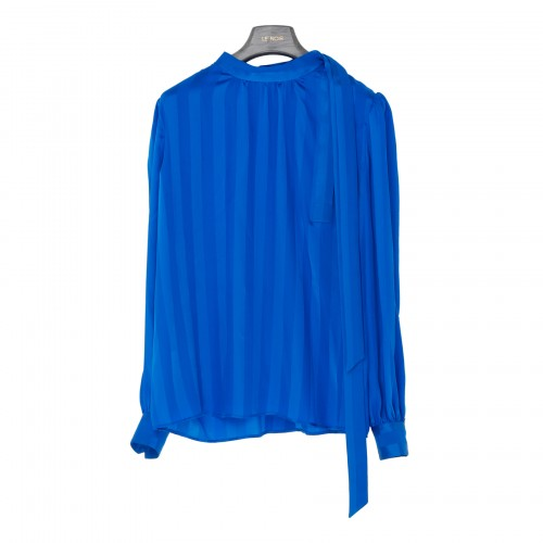 Blue silk blouse with bow
