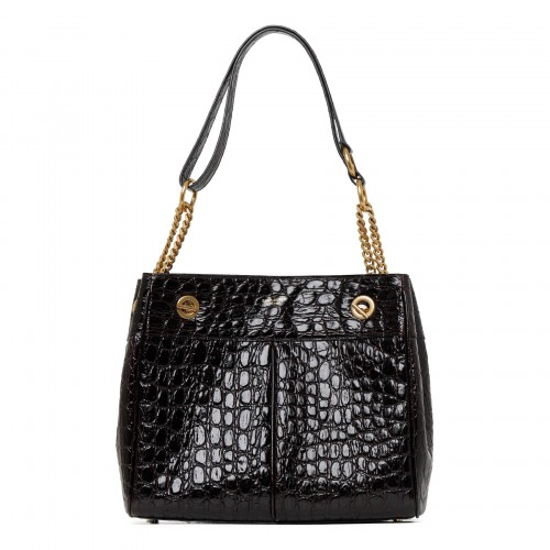 Fondente croc-embossed leather shoulder bag