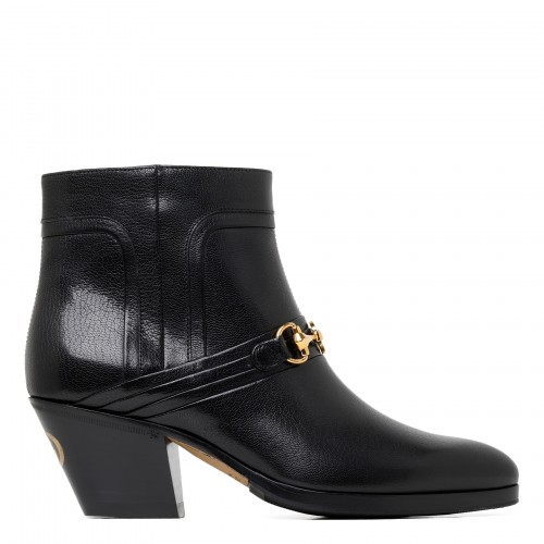 Zahara black leather booties