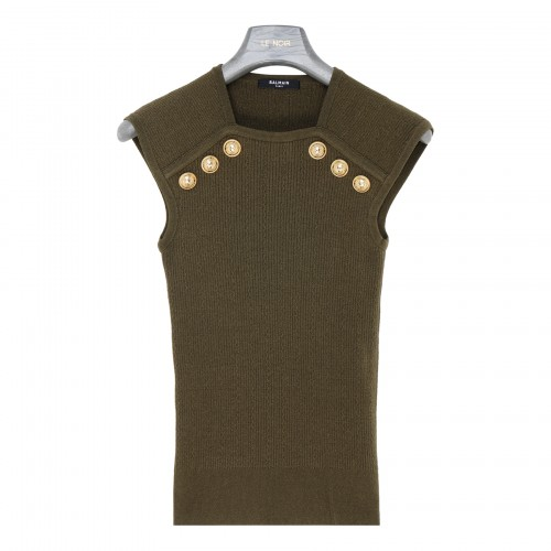 Olive green knit top with golden buttons