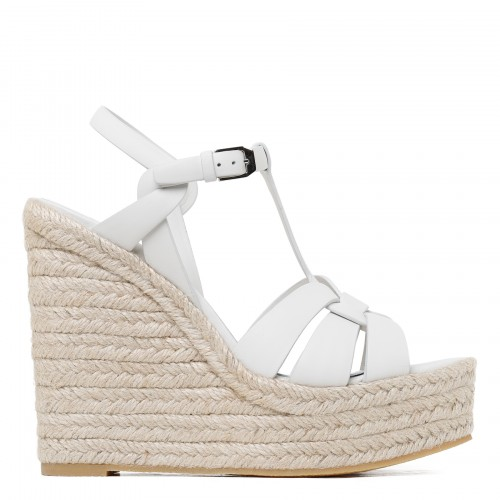 Tribute leather platform espadrilles