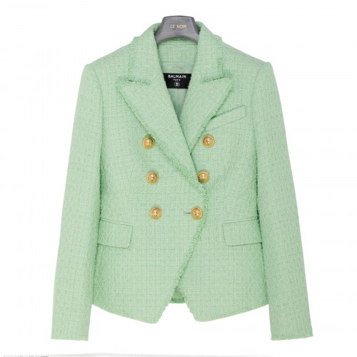 Pastel green tweed blazer with gold buttons