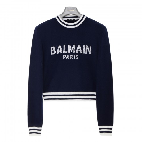 Blue cashmere blend logo sweater