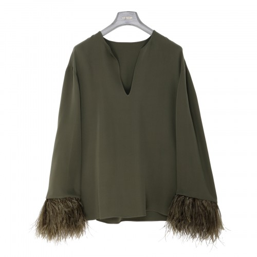 Sage-green cady couture top