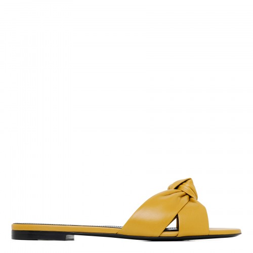 Bianca dark yellow leather mule sandals
