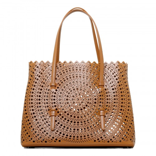 Mina 32 tan leather tote bag