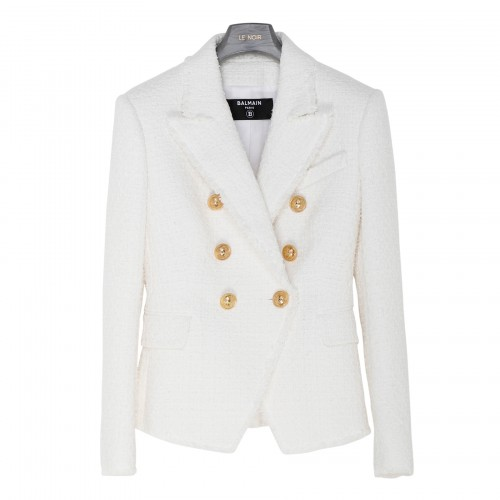 White tweed double breasted jacket