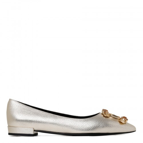Bejewelled silver-tone ballet flats