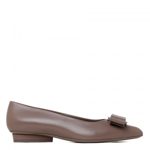 Viva taupe leather ballet flats