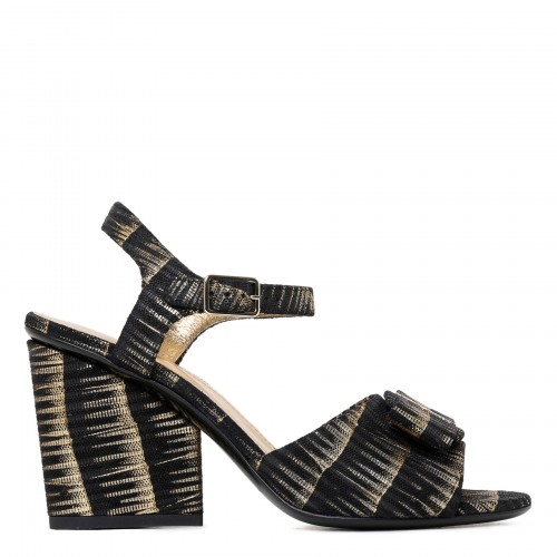 Viva black and gold leather sandals