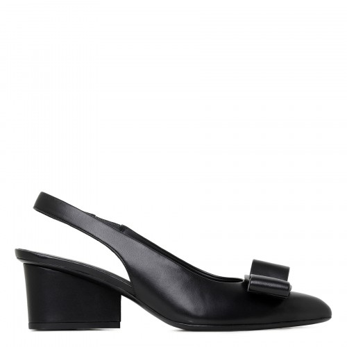 Viva black leather 55 slingbacks