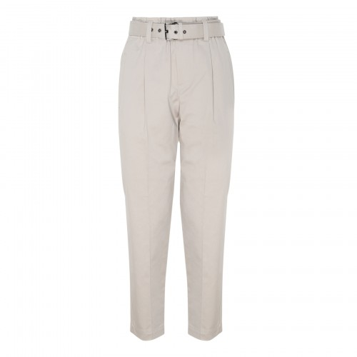 Taupe cotton belted pants