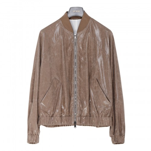 Suede bomber jacket with wet effect