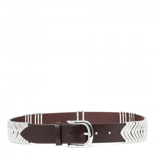 Theora dark brown leather belt