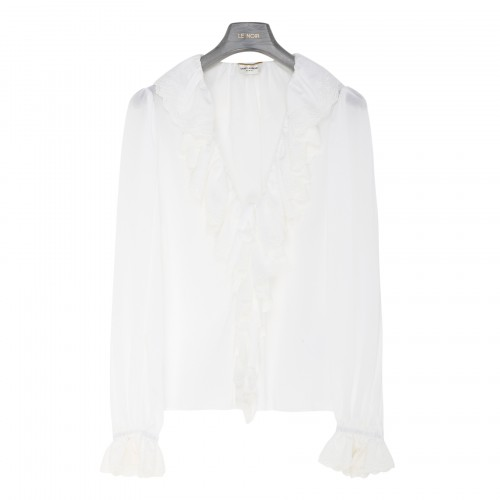 Broderie anglaise frilled blouse