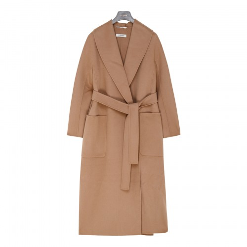 Elleni camel-hue virgin wool coat