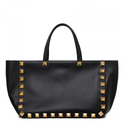 Roman Stud black leather tote bag