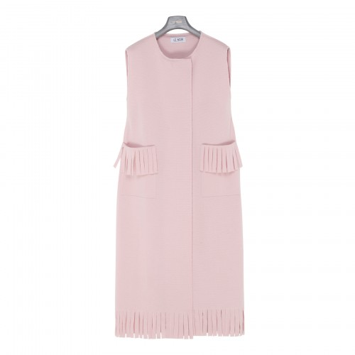 Pink fringed sleeveless dress
