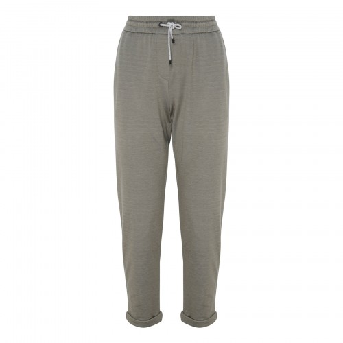 Light gray cotton and silk blend track pants
