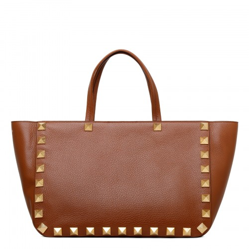Roman Stud tan-hue leather tote bag
