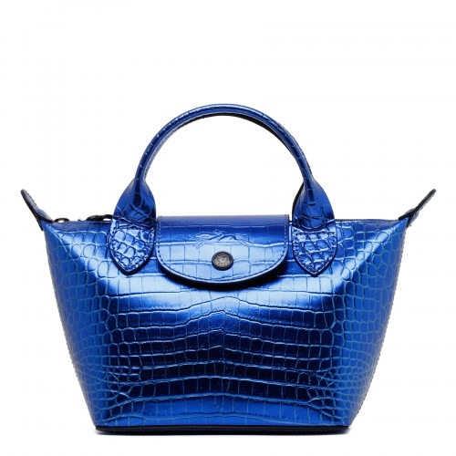 Le Pliage Cuir XS blue leather handbag