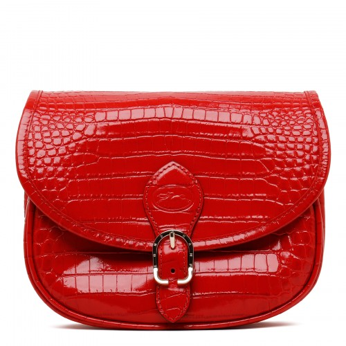 1980 red croc-embossed leather S cross-body bag