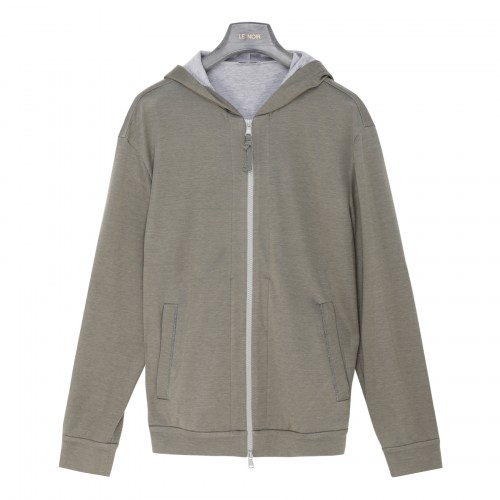 Sage green and gray zipped hoodie