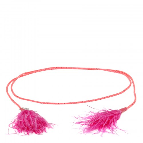Slim rope belt with feathers