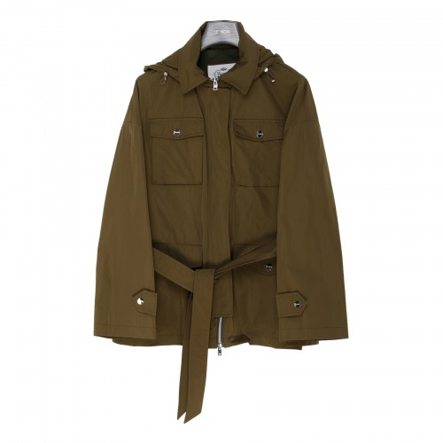 Army green hooded military jacket