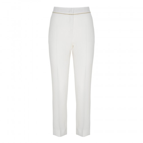 Stella white pants with golden piping
