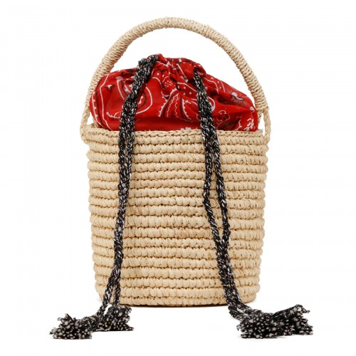 Beige raffia mini bucket bag with red bandana