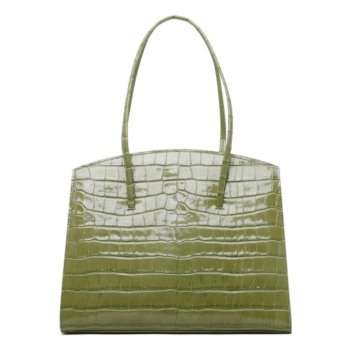 Minimal acid green croc-embossed leather tote