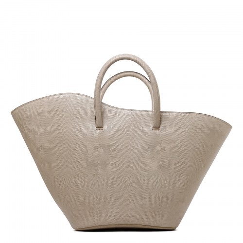 Open Tulip beige lizard-embossed leather medium tote