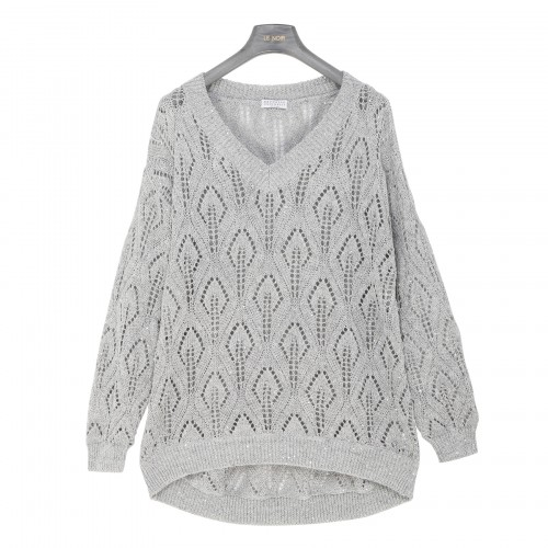 Pearl gray pointelle knit sweater
