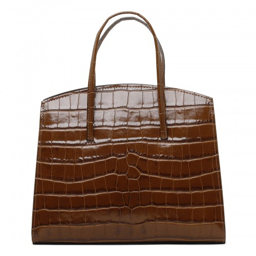 Minimal brown croc-embossed leather mini tote