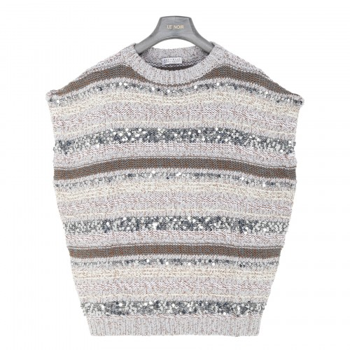 Gray knitted top with sequins