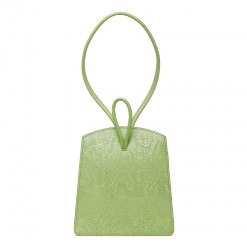 Loop bag in acid green lizard-embossed leather