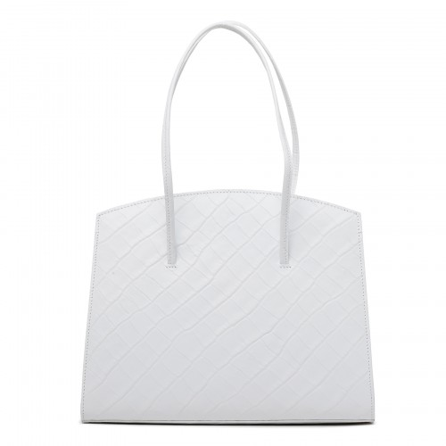 Minimal white croc-embossed leather tote