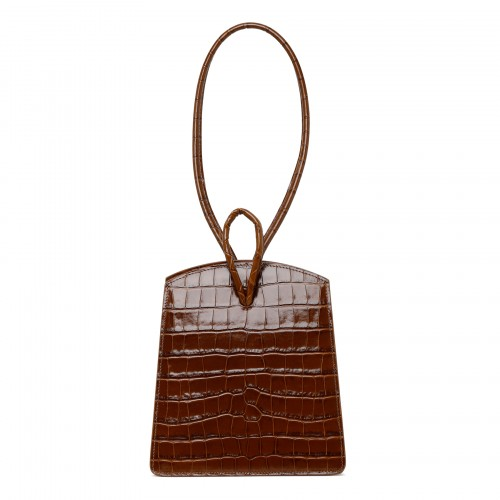 Loop bag in brown croc-embossed leather
