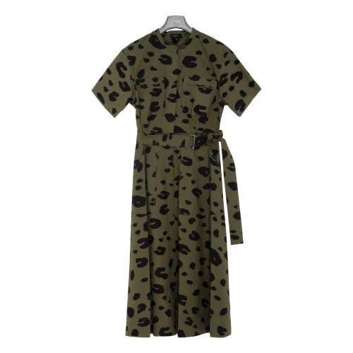 Leopard utility shirt dress