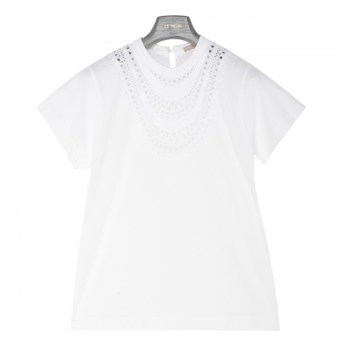 White T-shirt with broderie anglaise