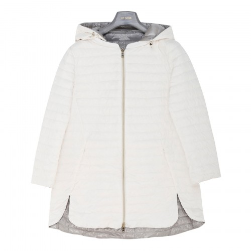 White and gray reversible down jacket