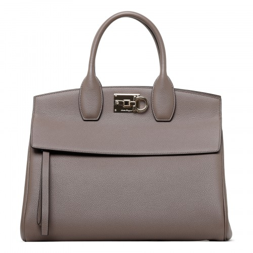 Studio taupe leather medium handbag