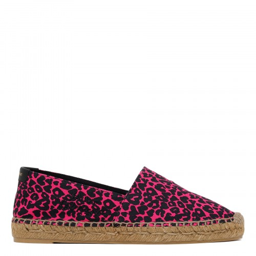 Heart-shaped leopard-print canvas espadrilles
