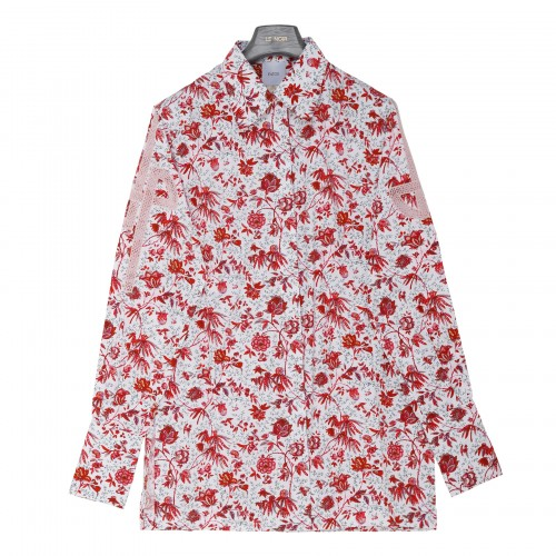 Floral print organic cotton shirt