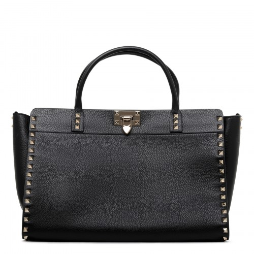 Rockstud black grained leather handbag
